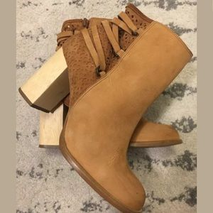 Miss Albright tan leather suede booties